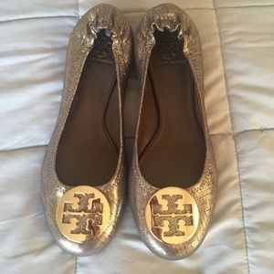 Tory Burch New Gold Crackled Reva Ballet Flats 11